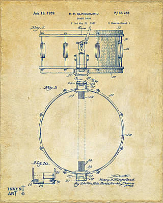 Marching Band Drawing - 1939 Snare Drum Patent Vintage by Nikki Marie Smith