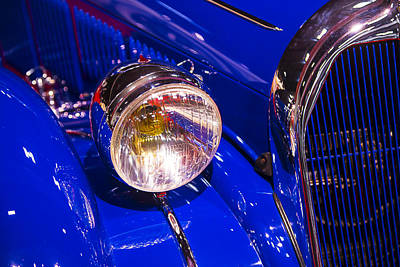 Headlamp Photograph - 1939 Talbot-lago Blue Coupe by Garry Gay