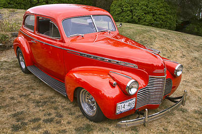 Red Chev Photograph - 1940 Chevrolet 2 Door Sedan by Peggy Collins