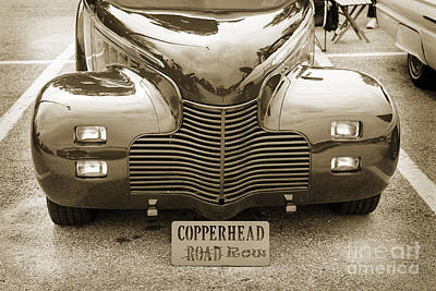 Photograph - 1940 Chevrolet Master Classic Car Automobile Front End Sepia  31 by M K Miller