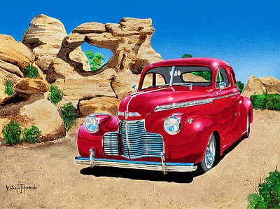 Painting - 1940 Chevy Coupe In The Rocks by Richard Mordecki