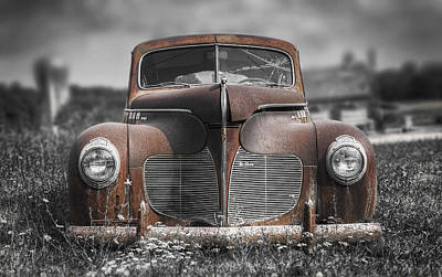 Decay Photograph - 1940 Desoto Deluxe With Spot Color by Scott Norris
