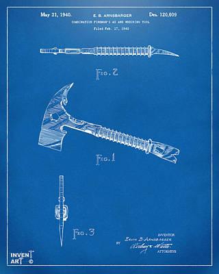 Digital Art - 1940 Firemans Axe Artwork Blueprint by Nikki Marie Smith