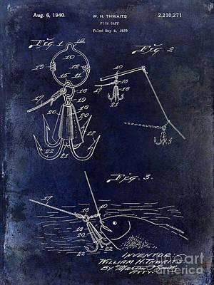 1940 Fishing Gaff Patent Drawing Blue Art Print by Jon Neidert