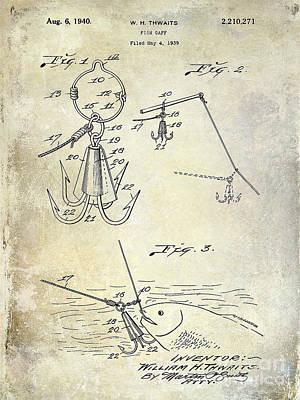 1940 Fishing Gaff Patent Drawing Art Print by Jon Neidert