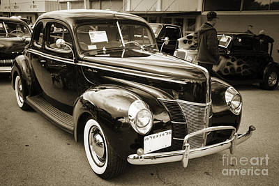 Photograph - 1940 Ford Antique Automobile 0r Classic Car Photograph In Sepia  by M K Miller