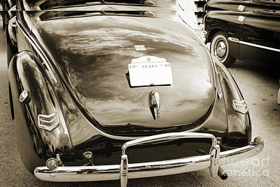 Photograph - 1940 Ford Classic Car Back Side And Trunk Photograph In Sepia 31 by M K Miller