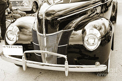 Photograph - 1940 Ford Classic Car Front Front End And Grill Photograph In Se by M K Miller