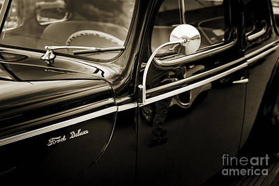 Antique Automobiles Photograph - 1940 Ford Classic Car  Side Door And Mirror Photograph In Sepia  by M K  Miller