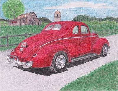 Street Rod Drawing - 1940 Ford Coupe by Darrell Leonard