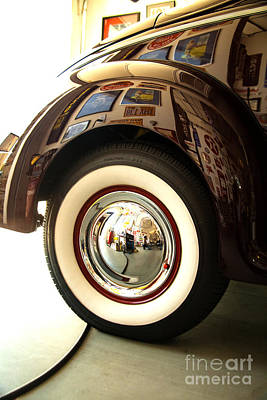 Art Print featuring the photograph Classic Maroon 1940 Ford Rear Fender And Wheel   by Jerry Cowart
