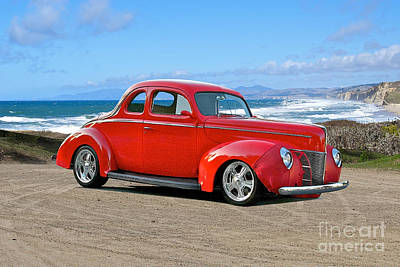 Black And White Flower Photography - 1940 Ford Red Coupe by Dave Koontz