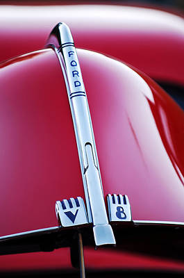 Ford V8 Photograph - 1940 Ford V8 Hood Ornament -323c by Jill Reger