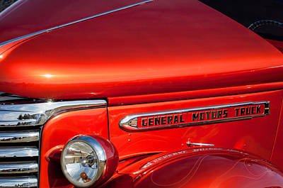 Photograph - 1940 Gmc Side Emblem -0378c by Jill Reger
