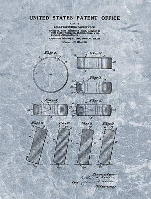 Athletes Drawings - 1940 Hockey Puck Patent Blue by Dan Sproul