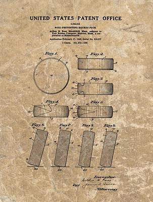 Boston Bruins Mixed Media - 1940 Hockey Puck Patent by Dan Sproul