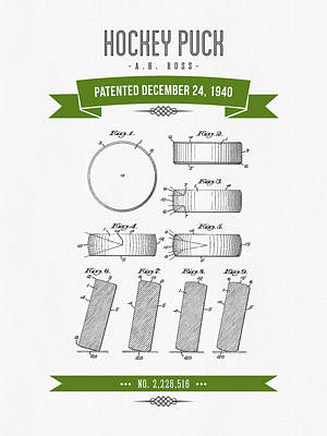 1940 Hockey Puck Patent Drawing - Retro Green Art Print by Aged Pixel