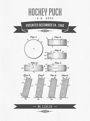1940 Hockey Puck Patent Drawing - Retro Grey Art Print by Aged Pixel