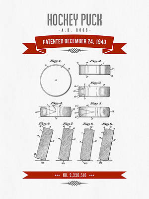 1940 Hockey Puck Patent Drawing - Retro Red Art Print by Aged Pixel