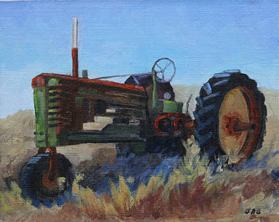 Old Farm Equipment Painting - 1940 John Deer Tractor by Julia Grundmeier