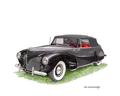 Cabriolet Painting - 1940 Lincoln Zephyr Cabriolet by Jack Pumphrey