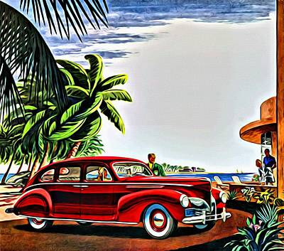 Painting - 1940 Lincoln Zephyr Continental 4 Door Sedan Ad by Florian Rodarte