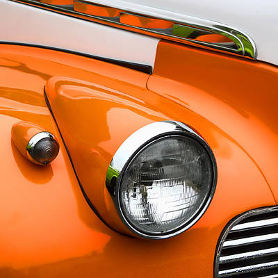Headlamp Photograph - 1940 Orange And White Chevrolet Sedan Square by Carol Leigh