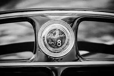 Photograph - 1940 Packard Super 8 Convertible Rear Emblem -1112bw by Jill Reger