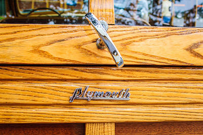 Wagon Photograph - 1940 Plymouth Deluxe Woody Wagon Emblem by Jill Reger