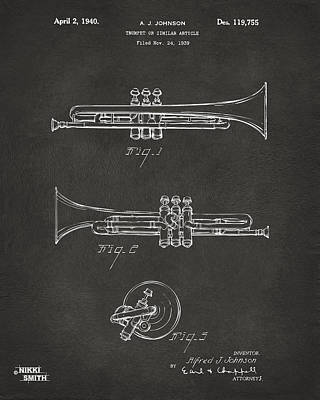 Celebrities Digital Art - 1940 Trumpet Patent Artwork - Gray by Nikki Marie Smith