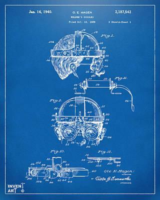 Digital Art - 1940 Welders Goggles Patent Artwork Blueprint by Nikki Marie Smith