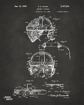 Steam Punk Digital Art - 1940 Welders Goggles Patent Artwork - Gray by Nikki Marie Smith