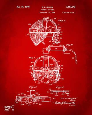 Digital Art - 1940 Welders Goggles Patent Artwork Red by Nikki Marie Smith
