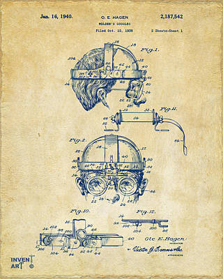 Digital Art - 1940 Welders Goggles Patent Artwork Vintage by Nikki Marie Smith