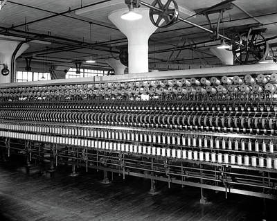 Old Time Spool Photograph - 1940s 1930s Cloth Weaving Factory by Vintage Images