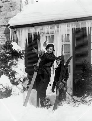 Ski House Wall Art - Photograph - 1940s 1930s Mother Son Standing Holding by Vintage Images