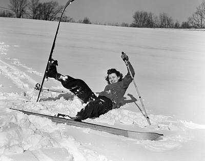 Awkward Wall Art - Photograph - 1940s 1930s Woman Falling In Snow by Vintage Images