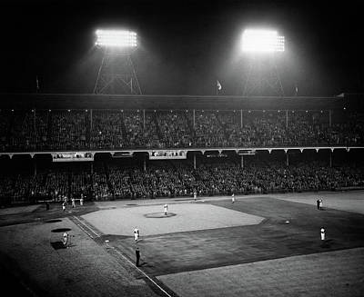 Anthem Wall Art - Photograph - 1940s 1947 Baseball Night Game by Vintage Images
