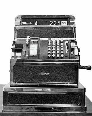Cash Register Photograph - 1940s 1950s A Manual National Cash by Vintage Images
