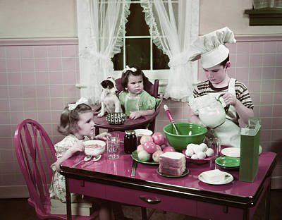 1940s 1950s Boy Two Girls At Kitchen Art Print