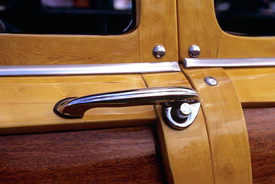 Old Woody Station Wagon Wall Art - Photograph - 1940s 1950s Door Handle Detail On Wood by Vintage Images