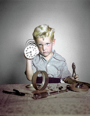 1940s 1950s Funny Boy Confused Taking Art Print