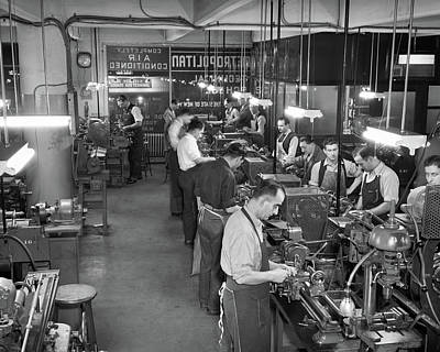 Machinists Photograph - 1940s 1950s Men Wearing Machinist by Vintage Images