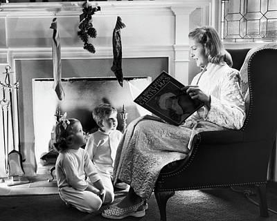 1940s 1950s Mother Reading Christmas Art Print