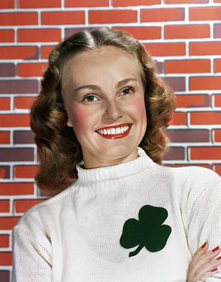 1940s 1950s Portrait Smiling Woman Art Print