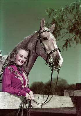Palomino Horse Photograph - 1940s 1950s Smiling Blond Woman Looking by Vintage Images