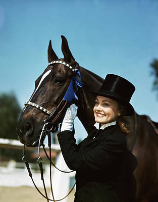 Equestrian Fashion Photograph - 1940s 1950s Smiling Teen Girl Wearing by Vintage Images
