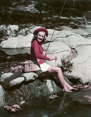 1940s 1950s Smiling Woman Fly Fishing Art Print