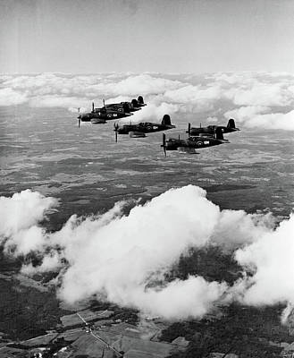 World War Ii Airplane Photograph - 1940s 6 Navy Corsairs Above The Clouds by Vintage Images