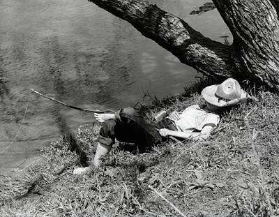 Huckleberry Photograph - 1940s Barefoot Boy Sleeping Under Tree by Vintage Images